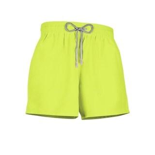 Boys Neon Yellow Polyester Swim Shorts