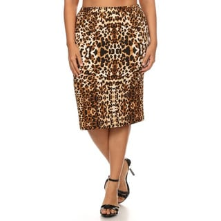 Plus Size Women's Brown/White Polyester/Spandex Animal Print Skirt