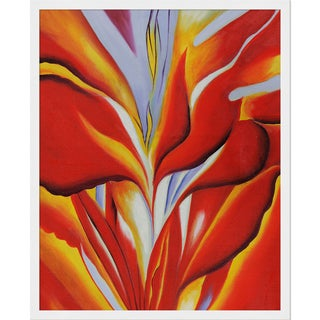 Georgia O'Keeffe 'Red Canna, 1924' Hand Painted Framed Canvas Art