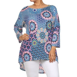 Women's Polyester and Spandex Plus-size Mandala Tunic