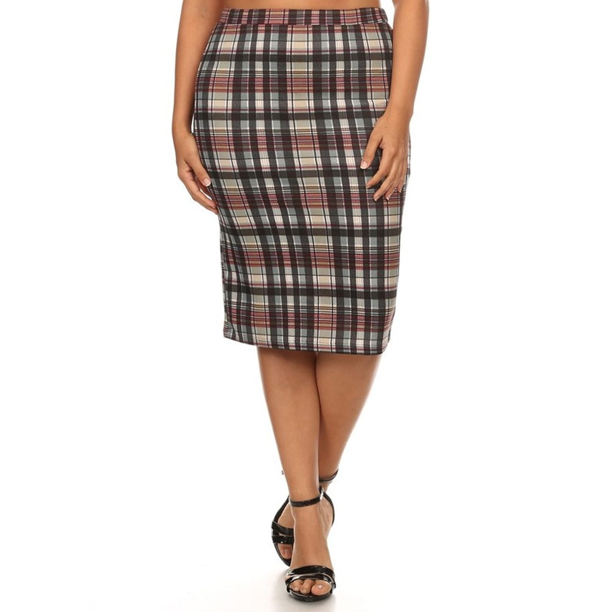 Women's Multicolor Polyester Plus-size Plaid Pencil Skirt...