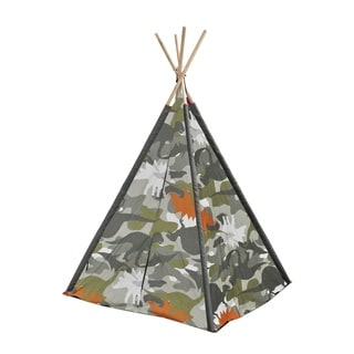 Dino Camo Kids' Green and Grey Canvas Play Teepee With Wooden Poles