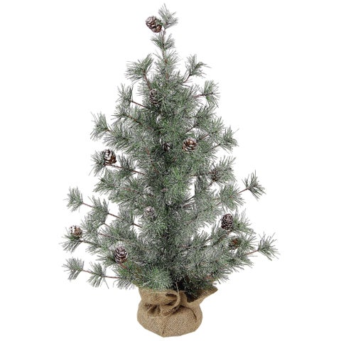 Artificial Christmas Snow Cone Pine 24-inch Tabletop Tree 53 Tips with Burlap Base