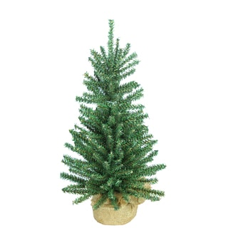 Green Artificial 18-inch Mini Christmas Pine Tabletop Tree with Burlap Base