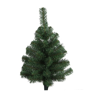 Green 24-inch Artificial Christmas Pine Tabletop Tree with 45 Tips and Plastic Cone