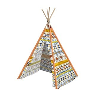 Aztec Tribal Kids' Multicolor Canvas Play Teepee With Wooden Poles