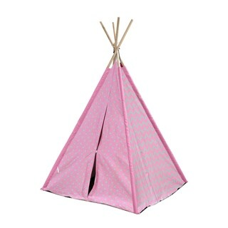 Chevron and Dots Grey and Pink Canvas Kid Play Teepee