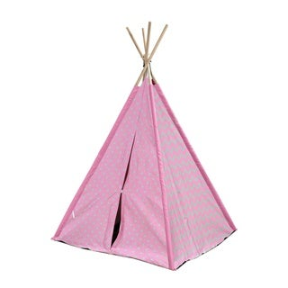 Chevron and Dots Grey and Pink Canvas Kids' Play Teepee Tent