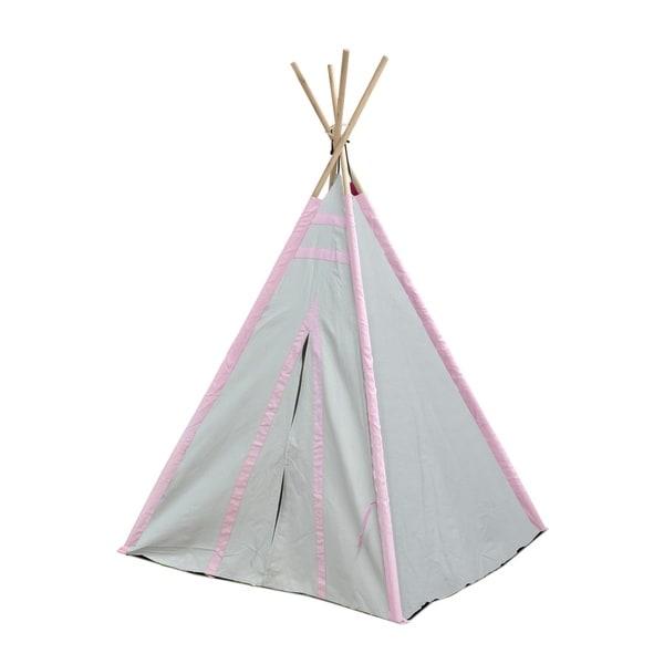 Gray/Pink Stripes Kid Play Teepee