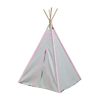 Gray/Pink Stripes Kid Play Teepee