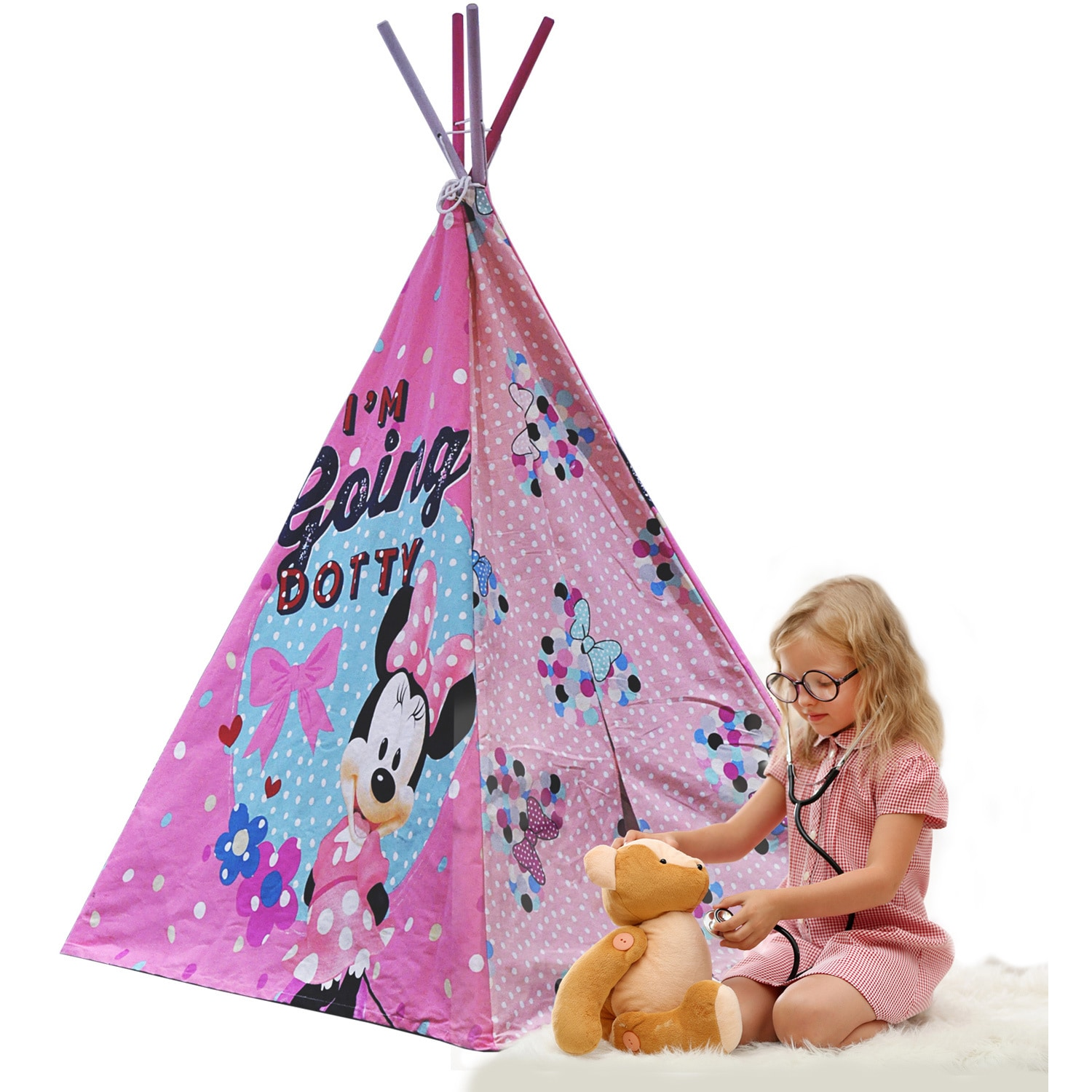Disney Minnie Mouse Wood and Canvas Teepee Play Tent With...