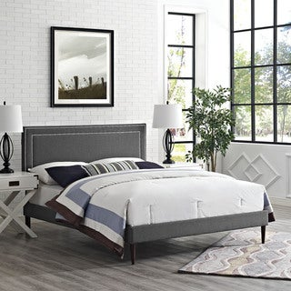 Jessamine Fabric Platform Bed with Round Tapered Legs in Gray