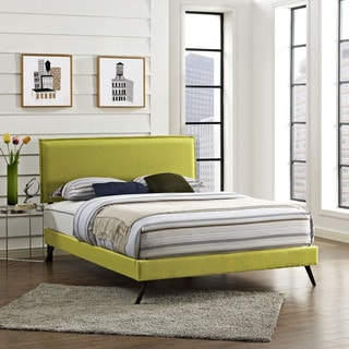 Camille Fabric Platform Bed with Round Splayed Legs in Wheatgrass