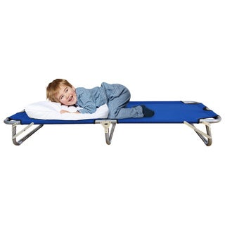 Blue Polyester Junior Folding Camping Cot