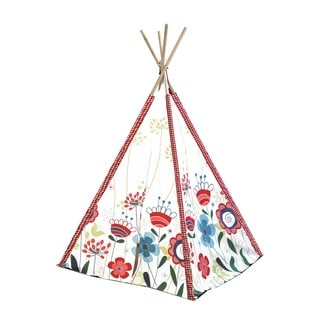Kids' Floral Canvas Play Teepee Tent