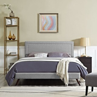 Jessamine Fabric Platform Bed with Round Splayed Legs in Light Gray