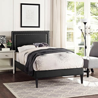 Jessamine Vinyl Platform Bed with Squared Tapered Legs in Black