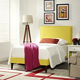 Camille Fabric Platform Bed with Squared Tapered Legs in Sunny