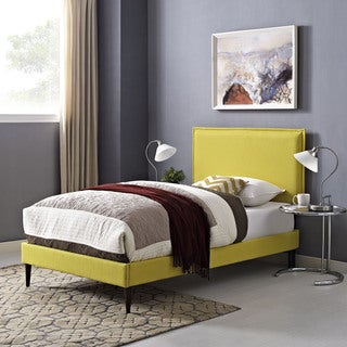 Camille Fabric Platform Bed with Round Tapered Legs in Sunny