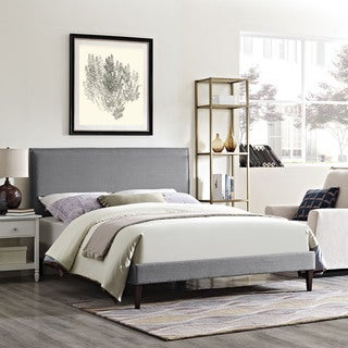 Camille Fabric Platform Bed with Squared Tapered Legs in Light Gray