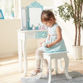 Teamson Kids - Fashion Prints Tropical Vanity Table & Stool Set