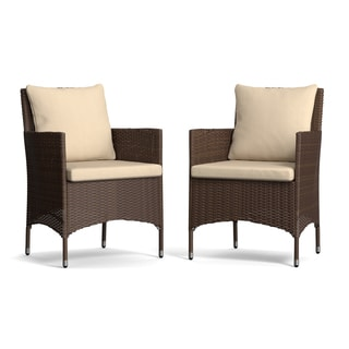 Handy Living Aldrich Brown Indoor/Outdoor Arm Chairs with Beige Cushions (Set of 2)