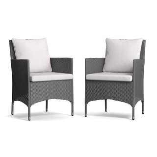 Handy Living Aldrich Grey Indoor/Outdoor Arm Chairs with Grey Cushions (Set of 2)