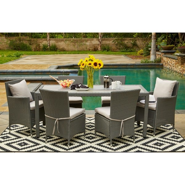 grey indoor outdoor 7 piece rectangle dining set with grey cushions