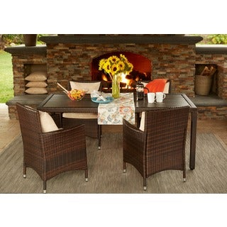 Handy Living Aldrich Brown Indoor/Outdoor 5 Piece Rectangle Dining Set with Beige Cushions