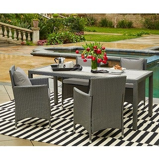 Handy Living Aldrich Grey Indoor/Outdoor 5 Piece Rectangle Dining Set with Grey Cushions