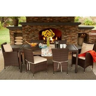 Portfolio Aldrich Brown Indoor/Outdoor 7 Piece Rectangle Dining Set with Beige Cushions