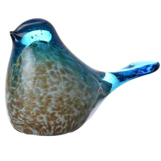Blue and Gold-tone Glass Bird Figurine