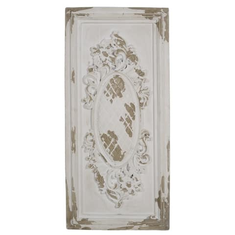 A&B Home Handmade Distressed Cream Wood Wall Decor