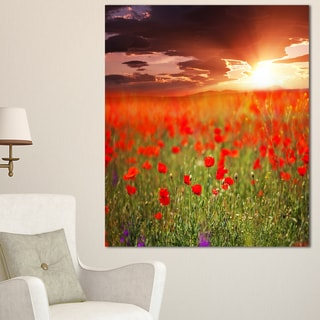 Wild Poppy Flowers at Cloudy Sunset - Large Flower Wall Artwork - Red