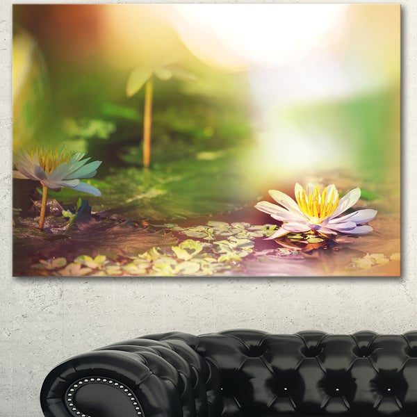Shop Lotus Flowers On Green Background Large Flower Wall Artwork