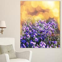 Purple Flowers on Brown Background - Large Flower Wall Artwork