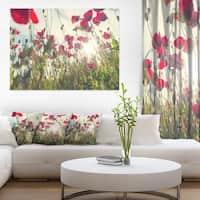 Poppy Flowers on Summer Meadow - Floral Artwork on Canvas - Red