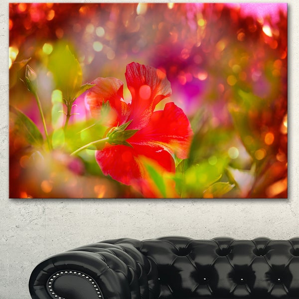 Beautiful Red Rural Summer Flowers - Floral Artwork on Canvas