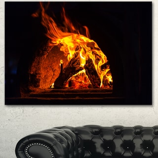 Wood Stove with Fire and Blaze - Abstract Wall Art Canvas