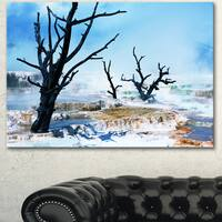 Beautiful Land with Large Dry Trees - Extra Large Landscape Canvas Art - Blue