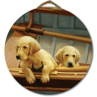 WGI Gallery The Crew Golden Round Wood Printed Wall Art