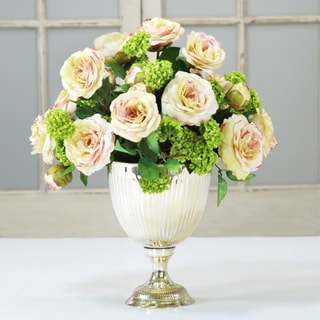 Jane Seymour Botanicals Cream and Green Camellias and Snowballs in Metal 18-inch Footed Urn