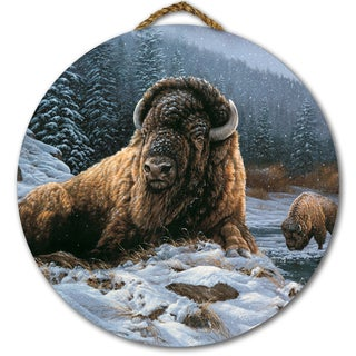 WGI Gallery Spirit of the Wild (Bison) Round Wall Art Printed on Wood