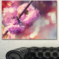 Beautiful Almond Tree Flowers - Floral Artwork on Canvas - Purple