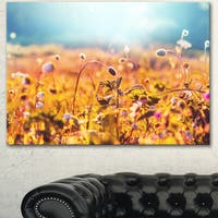 Summer Field with Beautiful Flowers - Floral Artwork on Canvas - YELLOW