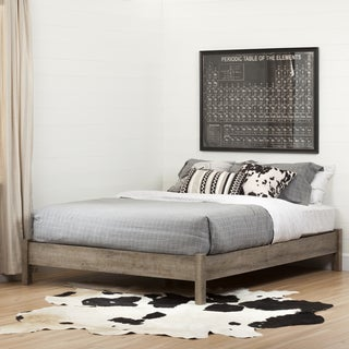 South Shore Munich Queen Platform Bed (60-inch) on Legs, Weathered Oak