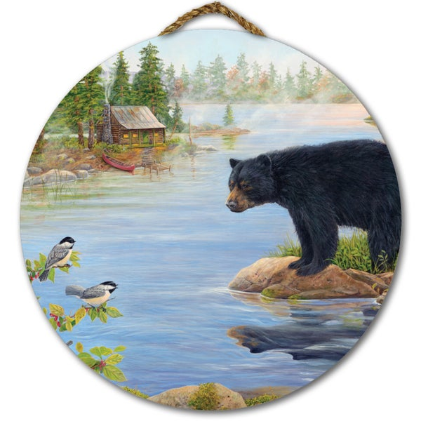 WGI Gallery 'Misty Morning Encounter' Wood Round Wall Art - Blue/Green
