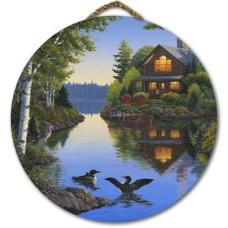 WGI Gallery 'Lake Cabin' Multicolor Wood Round Wall Art
