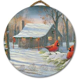 WGI Gallery 'Cozy Winter Cabin' Birchwood Round Wall Art