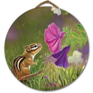 WGI Gallery Chipmunk in the Garden Round Wood Printed Wall Art
